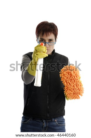 adult woman with cleaning gloves, sponge and spray isolated on white