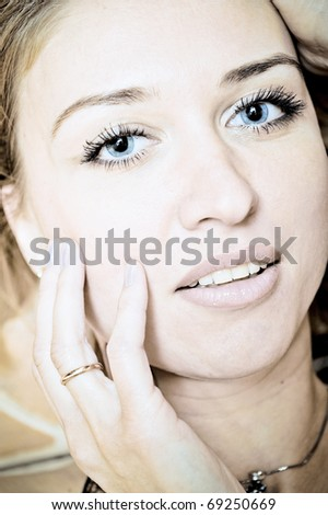 Adult woman with pure eyes and skin beauty portrait - stock photo