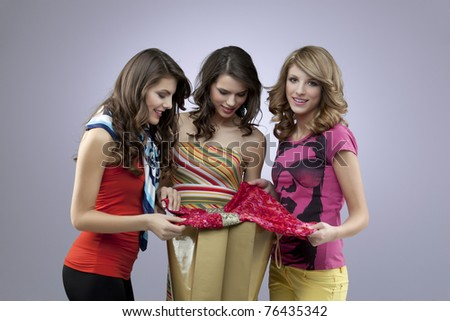adult women shopping together - stock photo