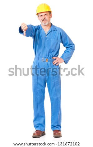 Adult worker in a uniform shows discontent isolated on white background cutout - stock photo