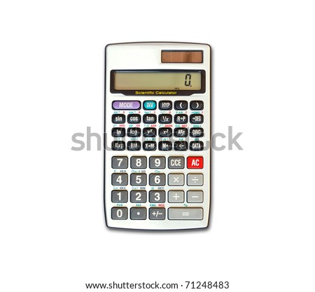 advance calculator isolated on white background - stock photo