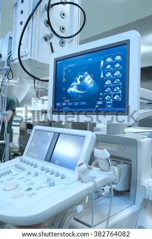 Advance ultrasound machine in hospital. - stock photo