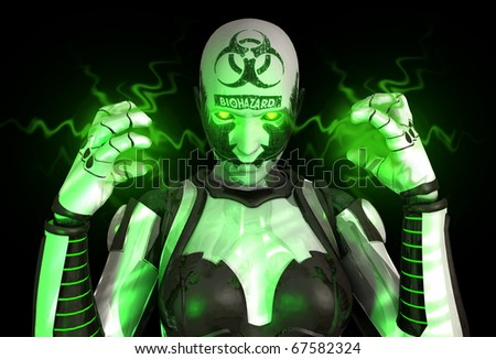 Advanced bio warfare cyborg soldier - stock photo