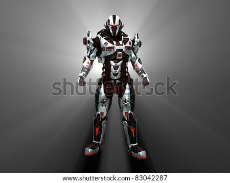 Advanced cyborg future soldier - stock photo
