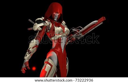 Advanced cyborg warrior, Quality 3d illustration - stock photo