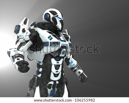 Advanced futuristic soldier - stock photo