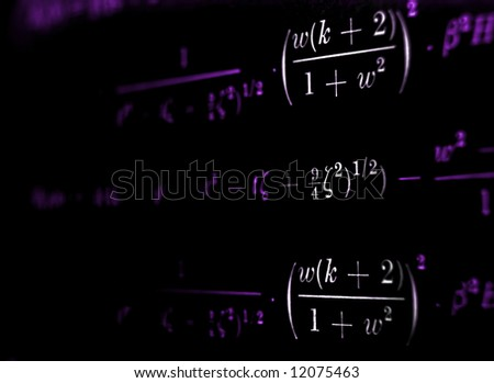 Advanced mathematical calculations on a black background with a coloured tint, copyspace on the left. - stock photo