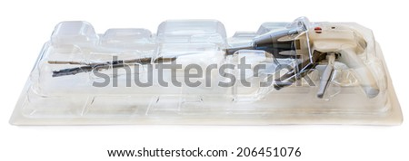advanced surgical stapler isolated over a white background - stock photo