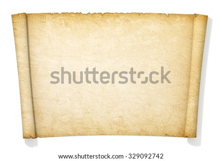 Advanced yellowed and old roll of paper. - stock photo