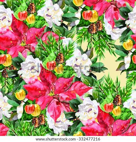 Advent Bouquet seamless pattern - stock photo
