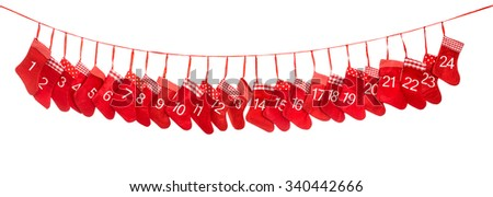 Advent calendar 1-24. Red christmas stocking isolated on white background. Holidays decoration - stock photo