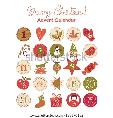 Advent calendar with various seasonal objects and symbols - stock photo