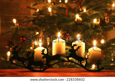 Advent Candles on Reindeer Sledge - stock photo