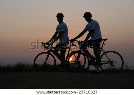 adventure cycling in the nature - stock photo