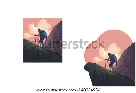 Adventure sports Mountaineering, - stock photo