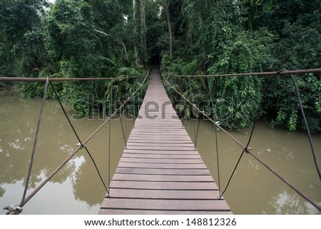 Adventure wooden rope jungle suspension bridge Khao Yai, Thailand