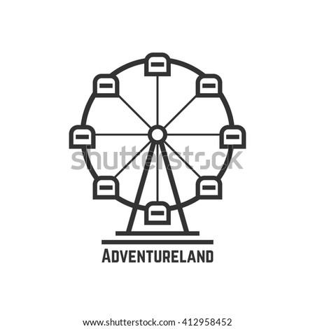 adventureland icon with black ferris wheel. concept of amusement park, fun fair, fairground, leisure activity. isolated on white background. flat style trend modern logotype design illustration - stock photo