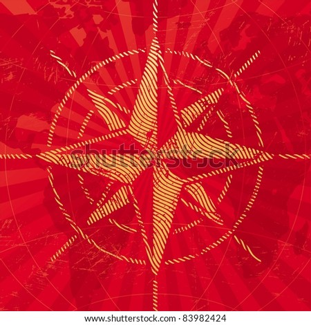 Adventures and travel illustration with compass rose on a map background. (Vector version of this work is available in my portfolio: # 52742461) - stock photo