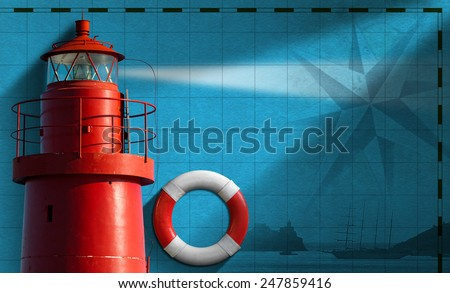 Adventurous Journeys Background. Blue background with red metallic lighthouse, white and red lifebuoy, compass rose and sailing ship. Concept of adventurous Journeys - stock photo