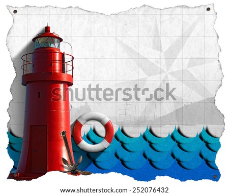 Adventurous Journeys Parchment. White parchment with a red lighthouse, lifebuoy, blue waves, compass rose, sailing ship and rusty anchor. Concept of adventurous Journeys - stock photo