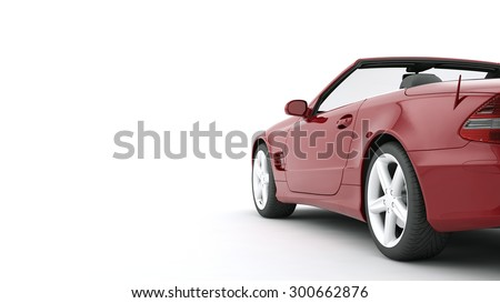 Advertise banner red car isolated on white background. Sales of auto parts, wheels and cars - stock photo