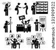 Advertisement Marketing Strategy Distributing Banner Leaflet Promotion Salesman Telemarketing Email Internet Stick Figure Pictogram Icon - stock vector