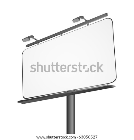 Advertising billboard isolated on white - stock photo
