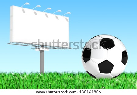 Advertising billboard with soccer ball  for use in presentations, manuals, design, etc. - stock photo