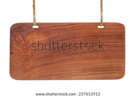 Advertising board hanging on the thread - stock photo