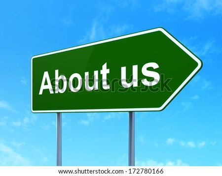 Advertising concept: About Us on green road (highway) sign, clear blue sky background, 3d render - stock photo