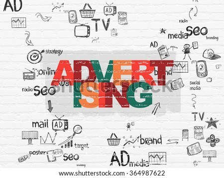 Advertising concept: Advertising on wall background - stock photo