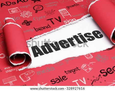 Advertising concept: black text Advertise under the curled piece of Red torn paper with  Hand Drawn Marketing Icons - stock photo