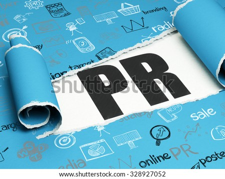 Advertising concept: black text PR under the curled piece of Blue torn paper with  Hand Drawn Marketing Icons - stock photo