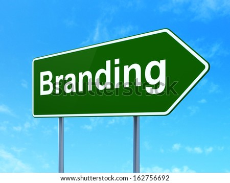 Advertising concept: Branding on green road (highway) sign, clear blue sky background, 3d render - stock photo