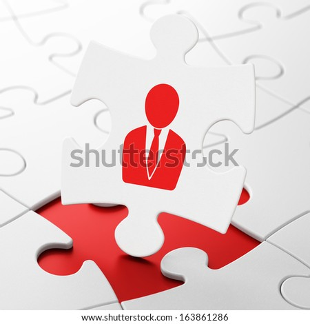 Advertising concept: Business Man on White puzzle pieces background, 3d render