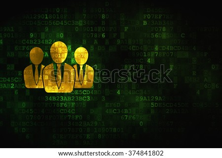 Advertising concept: Business People on digital background - stock photo