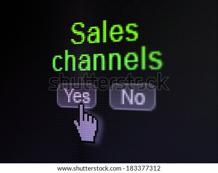 Advertising concept: buttons yes and no with pixelated word Sales Channels and Hand cursor on digital computer screen, selected focus 3d render - stock photo