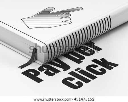 Advertising concept: closed book with Black Mouse Cursor icon and text Pay Per Click on floor, white background, 3D rendering - stock photo