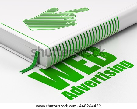 Advertising concept: closed book with Green Mouse Cursor icon and text WEB Advertising on floor, white background, 3D rendering - stock photo