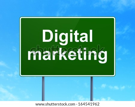 Advertising concept: Digital Marketing on green road (highway) sign, clear blue sky background, 3d render - stock photo