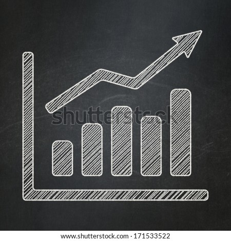 Advertising concept: Growth Graph icon on Black chalkboard background, 3d render - stock photo
