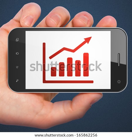 Advertising concept: hand holding smartphone with Growth Graph on display. Mobile smart phone on Blue background, 3d render