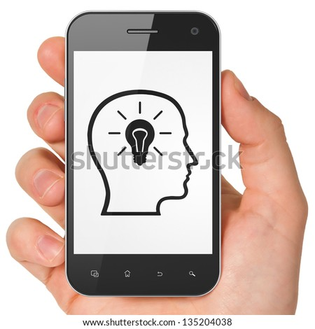 Advertising concept: hand holding smartphone with Head Whis Lightbulb on display. Generic mobile smart phone in hand on White background.