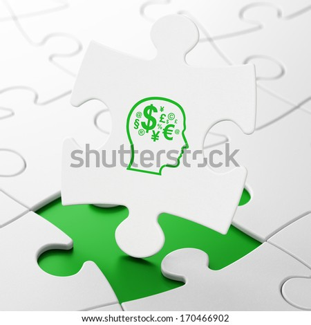 Advertising concept: Head With Finance Symbol on White puzzle pieces background, 3d render - stock photo