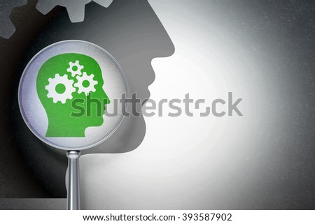 Advertising concept:  Head With Gears with optical glass on digital background - stock photo