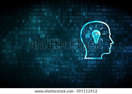 Advertising concept: Head With Lightbulb on digital background - stock photo