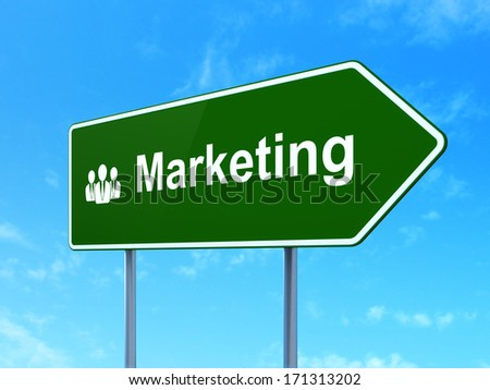 Advertising concept: Marketing and Business People icon on green road (highway) sign, clear blue sky background, 3d render