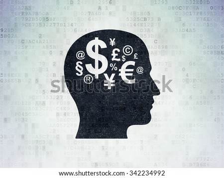 Advertising concept: Painted black Head With Finance Symbol icon on Digital Paper background