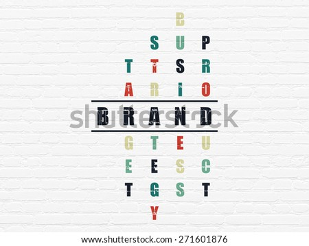 Advertising concept: Painted black word Brand in solving Crossword Puzzle, 3d render - stock photo