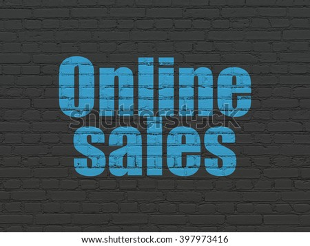 Advertising concept: Painted blue text Online Sales on Black Brick wall background